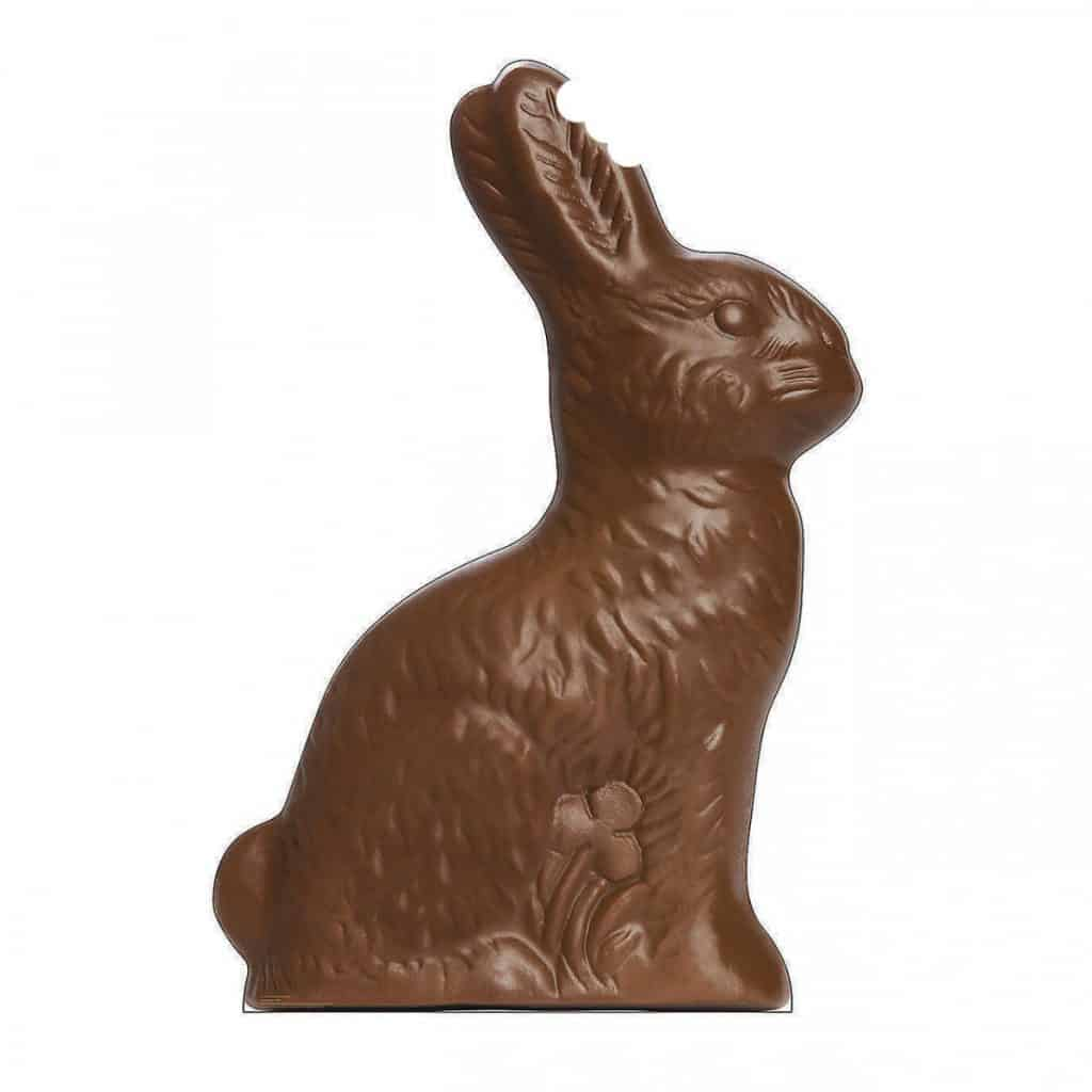 Image of a chocolate rabbit with a bite out of its ear